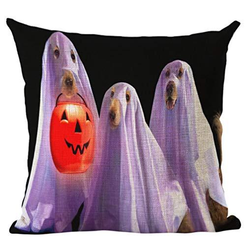 Pillow Case Cushion Happy Halloween Linen Throw Cover Home Sofa Decor New Naughty Cute Dog Cat (H) -