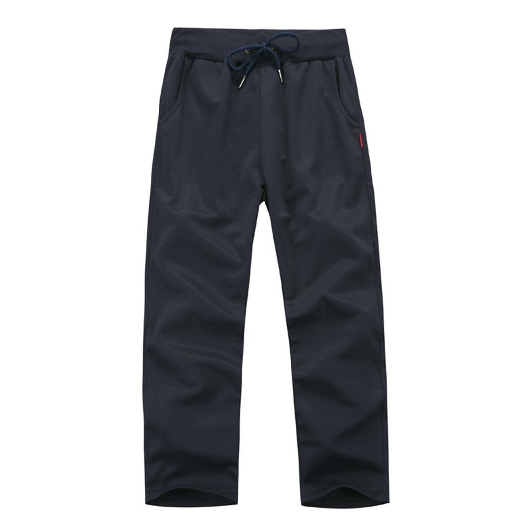 Autumn Casual Solid Color Elastic Waist Trousers Sapphire 4XL