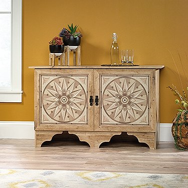 Sauder Viabella Accent Cabinet in Antigua Chestnut