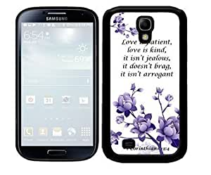 1 Corinthians 13:4 Bible Verse with Purple Flowers (Samsung Galaxy S4 I9500) 2-piece Dual Layer High Impact Black Silicone Cover Case hjbrhga1544