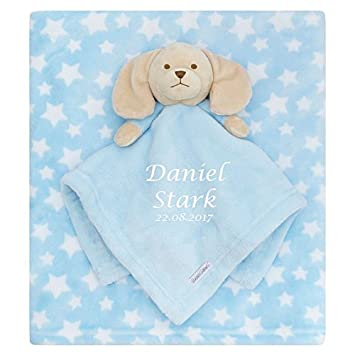 Personalised embroidered baby comforter blue puppy blanket gift personalised embroidered baby comforter blue puppy blanket gift set baby boy negle Choice Image