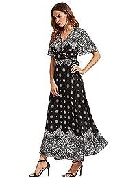 Women's Maxi Dress Myosotis510 Boho Print Tie-Waist Split Wrap Cardigan Cover Ups