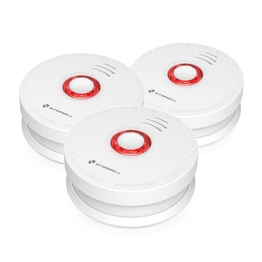 Siterlink 3 Packs Photoelectric Smoke Detector Alarm, Battery-Operated Not Hardwired Smoke and Fire Alarm Detector with Test Button, Photoelectric Fire Dector Alarm UL Listed 9V Battery Included