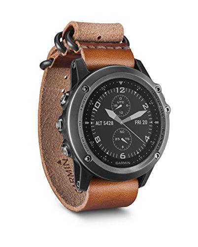 Garmin Fēnix 3 Sapphire Gray HR - Montre GPS Multisports Outdoor Cardio Poignet - Bracelet Noir Cuir et Nylon Marron