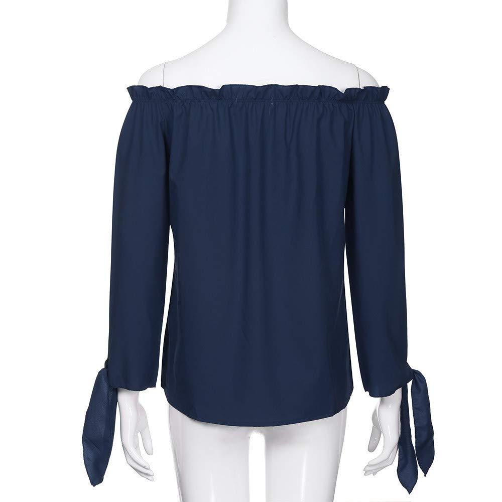 GJKK Damen Herbst Shirt Beil/äufige Langarm Hemd Reizvoller Kalte Schulter T-Shirt Sweatshirt Tops Oberteil Langarmshirt Fasching Partytop Tunika Bluse