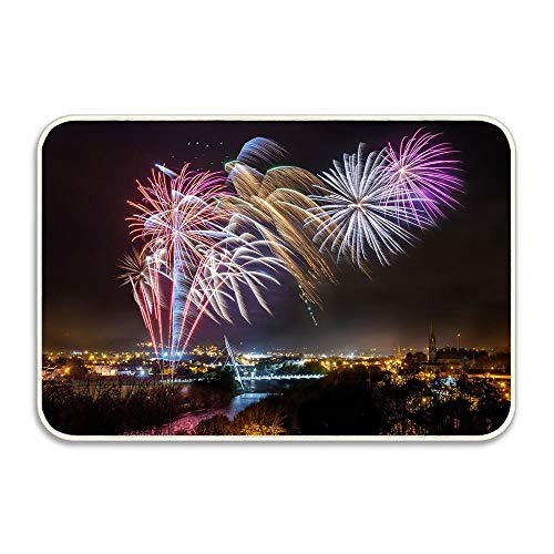Strabane Halloween Fireworks Display 2017 Doormat Anti-Slip Entrance Mat Floor Rug Indoor/Outdoor Door Mat Home Decor, Rubber Backing 16x24 -