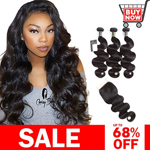 Puddinghair Body Wave 3 Bundles with Closure Brazilian Human Hair Bundles with Closure Natural Black Unprocessed Virgin Hair Bundles with Closure(14