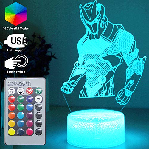 Omega Night Light Lamp 3D Vision Effect LED Night Lights Game Room Bedroom Decor Table Light Remote Control & 16 Colors Birthday Holiday Gift Ideas for Child Kids Teen - Lamp Table Omega
