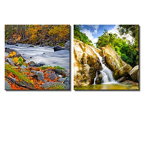Two Piece Rocky River and Waterfall Surrounded by Trees on 2 Panels