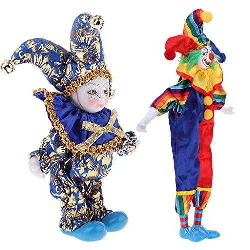 DYNWAVE Funny Porcelain Clown Doll, Hanging Foot Clowns, Smile Clown Figures Collectibles & Itanlian Triangel Victorian Porcelain Dolls Decor