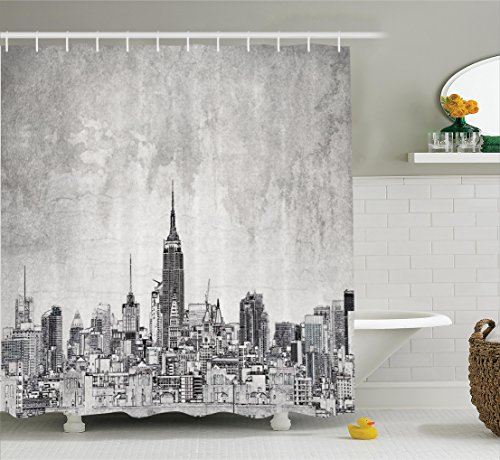 Ambesonne Apartment Decor Collection, Cosmopolitan New York City Skyline with Iconic Skyscrapers and High Buildings Artsy Design, Polyester Fabric Bathroom Shower Curtain Set with Hooks, Grey (Nyc Building Shower Curtain)
