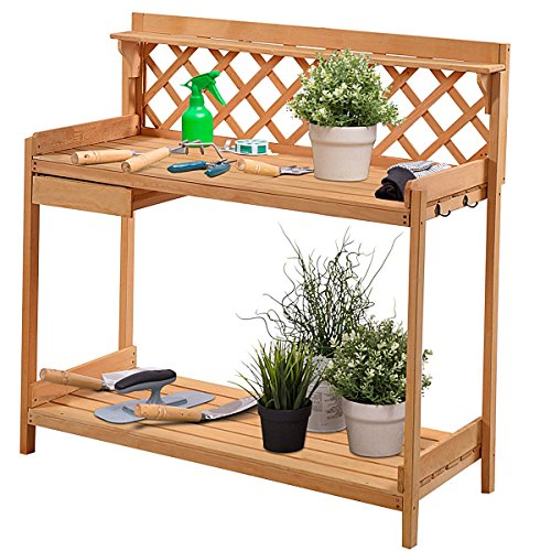 Lpha' US Desk Working Table Garden Wooden Potting Work Bench Station Planting Workbench With 2 Shelf,1 Drawer, Hook Holder, Playground backyard garden (2 Station Workbench)