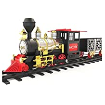 MOTA Classic Holiday Train Set with Real Smoke - Authentic Lights, and Sounds - A Full Set with Locomotive Engine, Cargo Cars, Tracks and Christmas Spirit