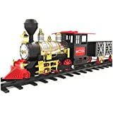 MOTA Classic Holiday Christmas Train Set with Real Smoke - Authentic Lights, and Sounds - A Full Set with Locomotive Engine, Cargo Cars, Tracks and Christmas Spirit