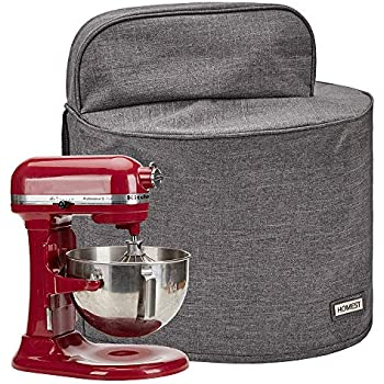 HOMEST Stand Mixer Dust Cover with Pockets Compatible with KitchenAid Bowl Lift 5-8 Quart, Grey