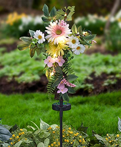 - The Lakeside Collection Solar Lighted Cross with Spring Flowers Stake -