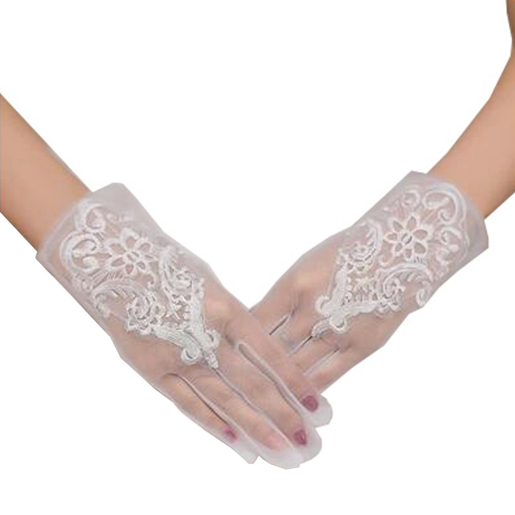 Elegant Lady Formal Banquet Party Bride Pierced Lace Wedding Gloves Bridal Gloves, NO.7