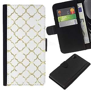 EJOY---La carpeta del tirón la caja de cuero de alta calidad de la PU Caso protector / Sony Xperia Z2 D6502 / --Metal de oro Ventana Marco Dios Iglesia