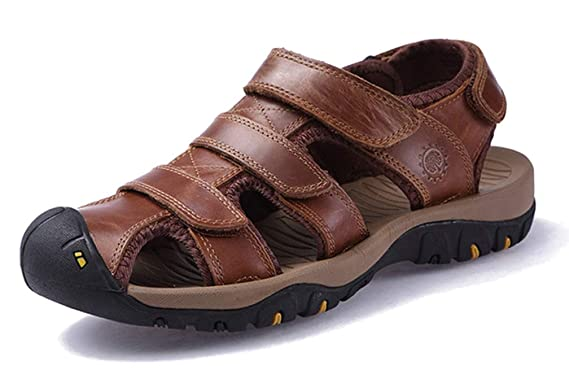 5c1563804839d2 Seaoeey Men s Leather Casual Sandals Super Soft Close Toe Outdoor Sport Shoes  Beach Shoe Male Hiking