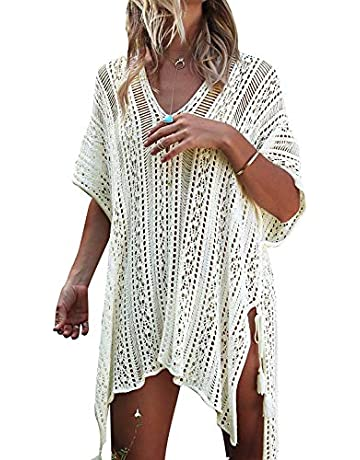 4e4959ac36c7a JOSIFER Women's Summer Beach Coverups Bikini Swimsuit Crochet Cover ups Net