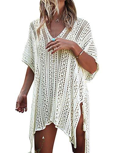 (CASILY Womens Summer Beach Swimsuit Bikini Crochet Cover Up Dress White)