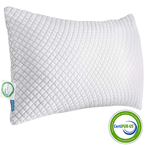 KUNPENG Shredded Memory Foam Bed Pillows for Sleeping - Cooling Pillow Hypoallergenic with Premium Washable Cover for Back Stomach Side Sleepers Firm Soft Adjustable - CertiPUR-US - Queen
