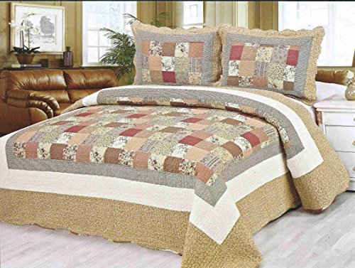 Norson Home Textiles, Super Soft 3-piece Rose Garden Cotton Quilt Set, Queen, Floral (5)