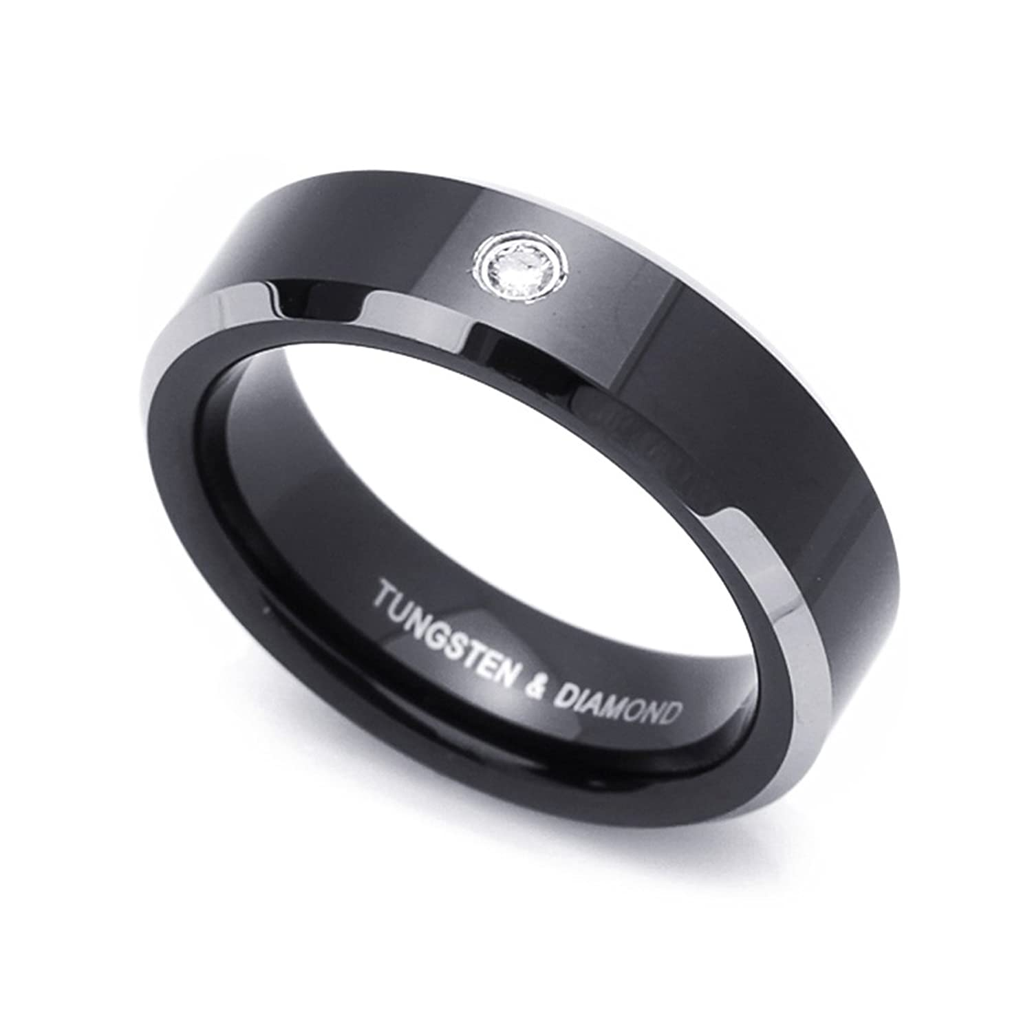 6MM Comfort Fit Tungsten Carbide Wedding Band 0.04 cttw Diamond Two Tone Black Tungsten Ring (4 to 9.5)
