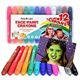 Face Paint Crayons Kit, 12 Washable Non-Toxic Chunky Fun Bright Colour Body Art Painting Sticks. Easy to Use, Water-Based, Long Lasting, Twistable Design. Ideal for Kids, Christmas, Birthdays, Parties