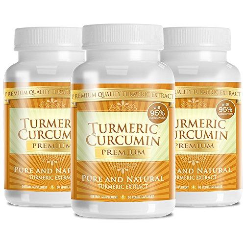 Turmeric Premium - Pure Turmeric 95% Curcumin with Bioperine - Vegan Natural Anti-Inflammatory, Antioxidant, Pain Relief and Antidepressant - 180 Capsules, 3 Months Supply
