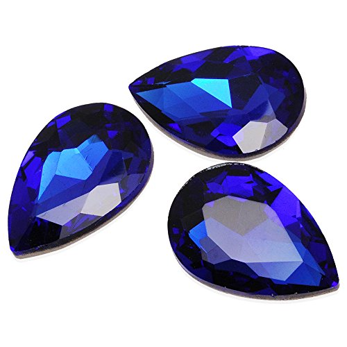 - 30*20mm Cushion Cut Foiled Crystal Teardrop Fancy Stone, Cubic Zirconia Stone for Jewelry Making 10pcs/lot (Sapphire blue)