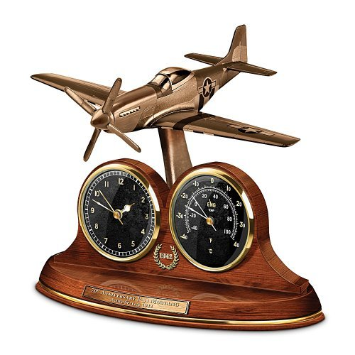Tabletop Clock: P-51 Mustang 70th Anniversary Thermometer Tabletop Clock by The Bradford Exchange by Bradford Exchange (Mustang P Clock 51)