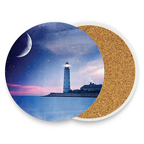 Lighthouse at Night Oceanic Space and Stars Moon Smock Fantasy Magical View Coaster for Drinks Absorbent Stone Coaster, Cups Holder Coffee Mug Cup Mat Pack Of 1