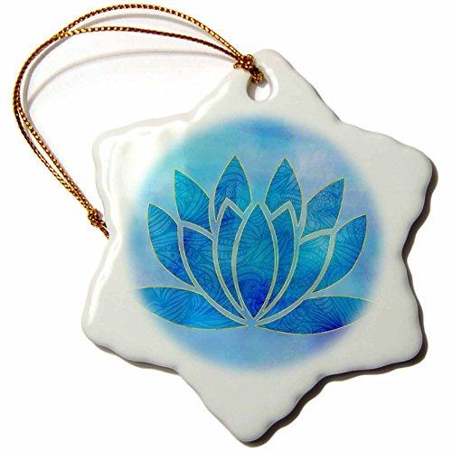 Harmony Porcelain Lotus (3dRose Andrea Haase Art Illustration - Watercolor Illustration Of Lotus flower Symbol In Blue - 3 inch Snowflake Porcelain Ornament (orn_268519_1))