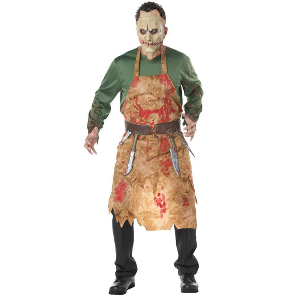 QJKai Halloween Costume Bloody Butcher Pack Chef's Wear Men's Blood Pack Zombie Wear