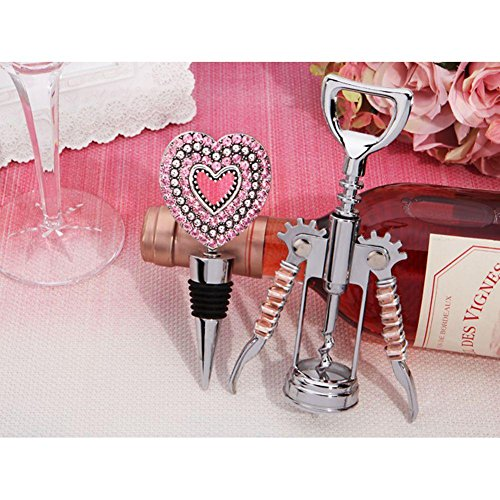 Pink Crystal Heart Bottle Opener and Stopper Set - 84 Sets by Cassiani