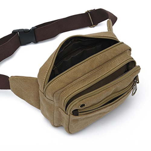 MiCoolker Retro Canvas Waist Bag Multi-function Outdoor Small Messenger Chestband Lightweight Hiking Bag