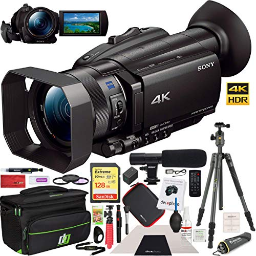 - Sony FDR-AX700 4K HDR Handycam Camcorder with Deco Gear Professional Photography Case Cleaning Kit Tripod Filter Set & Shotgun Microphone Deluxe Bundle