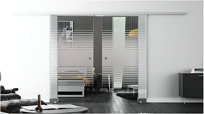 Correderas de cristal de la puerta para interiores con cierre-sistema LEVIDOR - De ancho de cristal: 775 mm, 900 mm y 1025 mm, Altura: 2050 mm - muchos diseños con concha manija