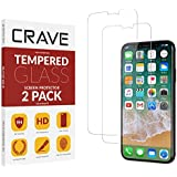 Crave Glass Screen Protector for Apple iPhone Xs/X [2-Pack] HD Tempered Glass