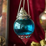 HANGING BRASS TURQUOISE MELON T-LIGHT HOLDERHAND CUT INDIAN DECORATIVE WEDDING GIFT CRYSTAL GLASS VINTAGE EUROPEAN DESIGN