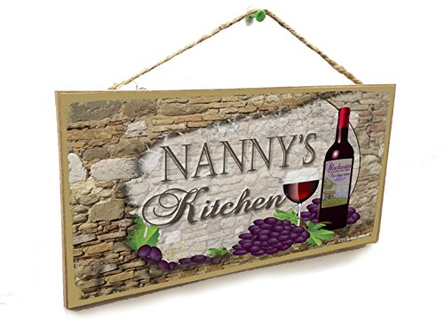 "Nanny's Kitchen Italian Vintage Style Wine Sign Plaque 5""X10"""