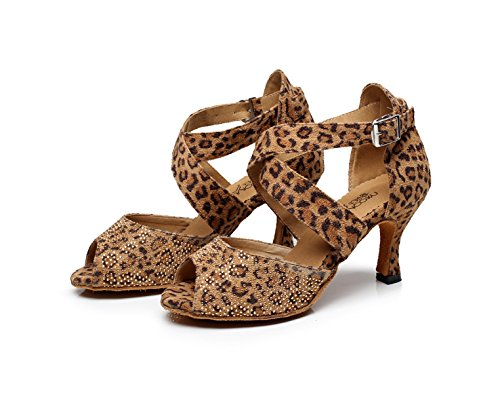 Samba heeled7 Jazz Tango Shoes JSHOE Dance Shoes Our42 Salsa Modern Tea High EU41 Latin 5cm Heels Sandals Leopard UK7 Women's BzxqwZ0