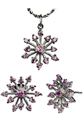 Sparkling Pink Cubic Zirconia Snowflake Silver Pendant Necklace and Stud Earrings Set