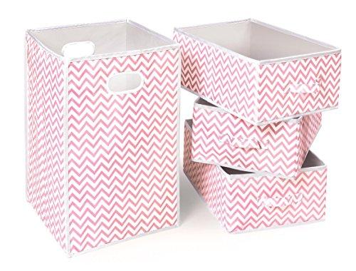 Fabric Folding Square Hamper and 3 Storage Basket Set ()