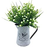 VANCORE French Style Shabby Chic Vase Metal Pitcher with Artificial Flowers Set Ideal Gift