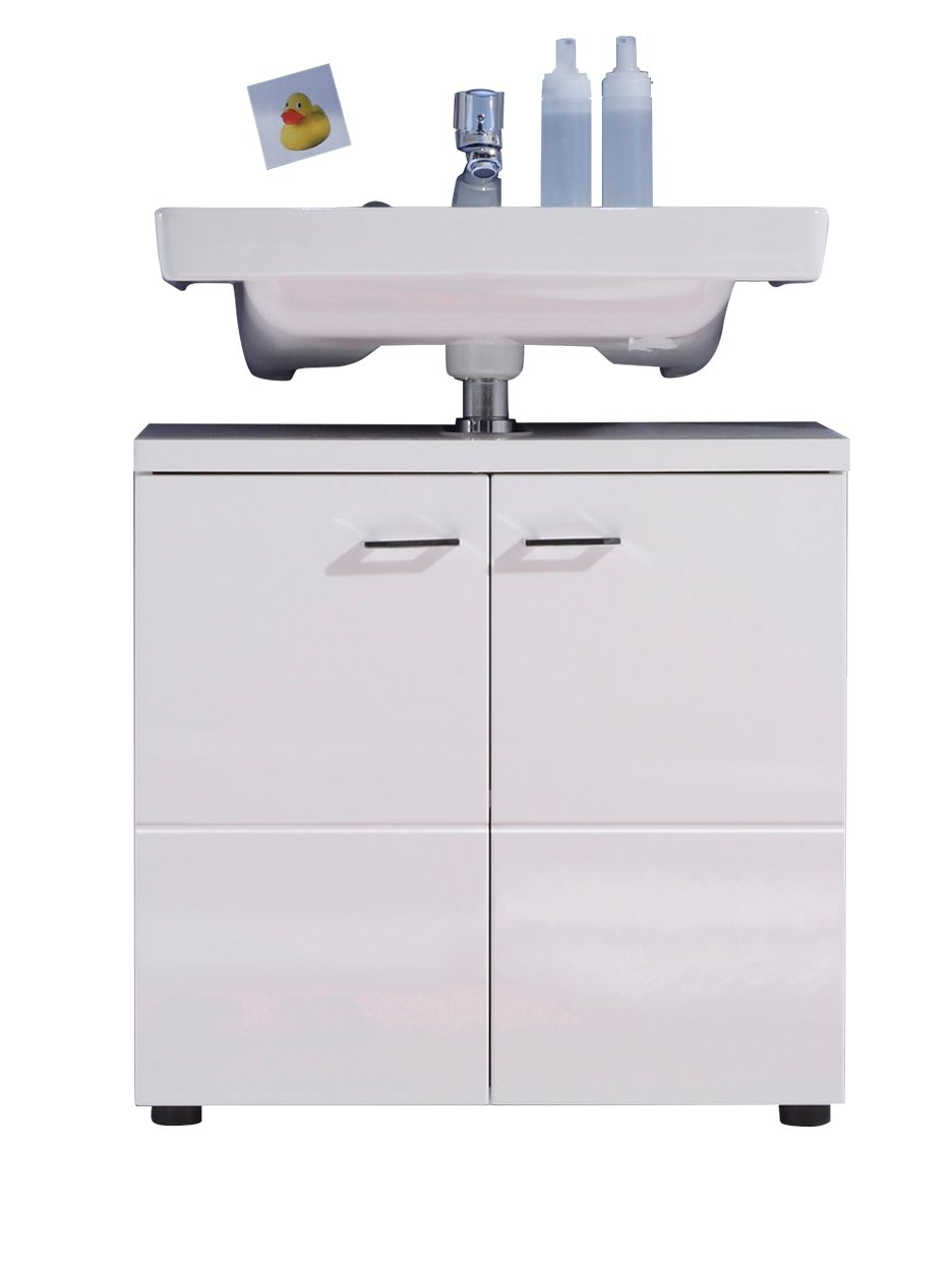 Trendteam NL30101 Bad Waschbeckenunterschrank Weiß Nachbildung Mit Weißen  Hochglanz Tiefziehfronten, BxHxT 65x63x35 Cm: Amazon.de: Küche U0026 Haushalt