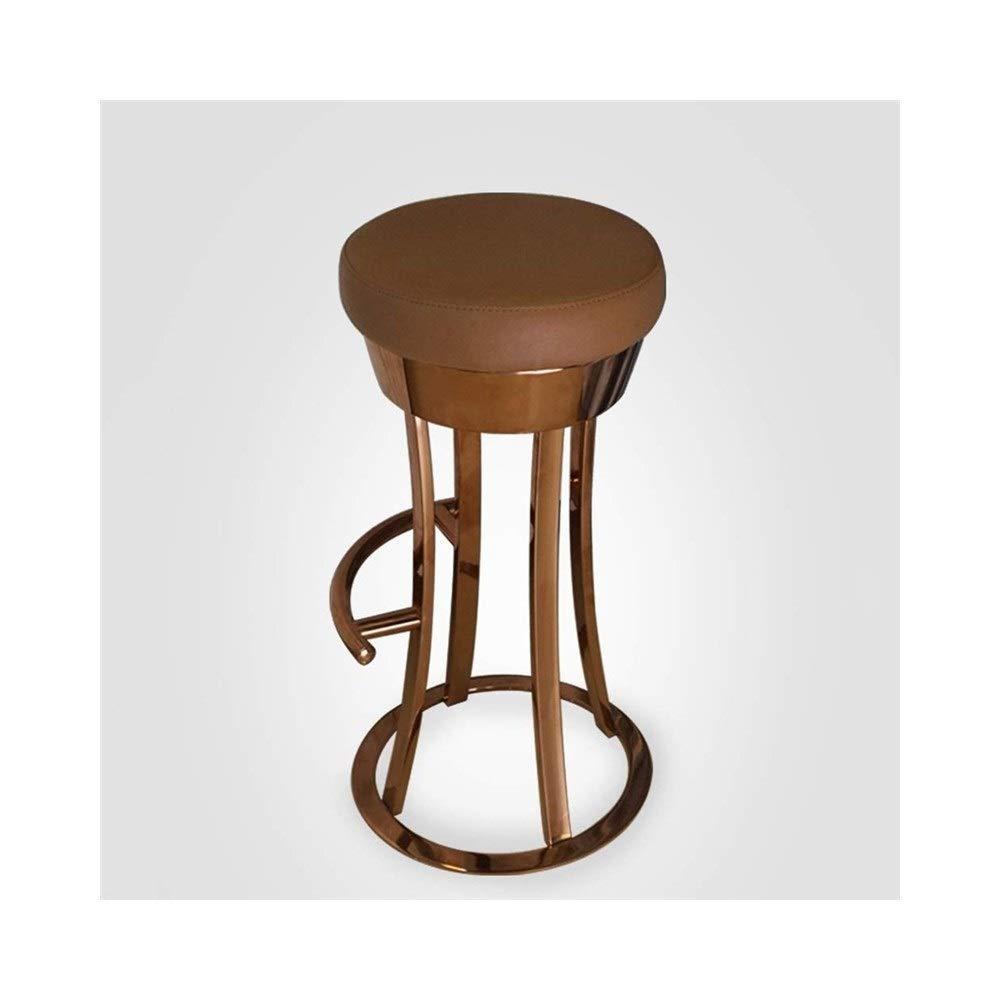 カウンタースツールバースツールステンレス鋼PUパッドバーチェアハイスツールモダンダイニングチェアに適しバーカフェレストラン FENPING (Color : Brown) B07TWJRG3X Brown