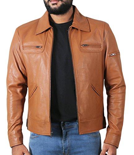 (Laverapelle Men's Genuine Lambskin Leather Jacket (Cognic Tan, Medium, Polyester Lining) - 1501200)