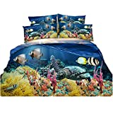 Cheap Comforter Sets Under 50 Newrara 3D Digital Bedding,3D Corals and Fishes Bedding, 3D Sea Turtle Bedding, Underwater World Printed 4-Piece Duvet Cover Sets (Full, Multi)